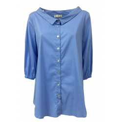 AR.12 camicia donna manica ¾ azzurro mod 82402 MADE IN ITALY