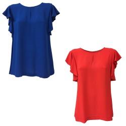AR.12 blusa donna senza maniche con volant mod 82121 100% viscosa MADE IN ITALY