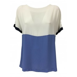 AR.12 camicia donna mezza manica bianco/celeste/blu mod 82119 100% viscosa MADE IN ITALY
