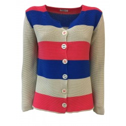 CLAUDIA F. giacca donna righe mod D680/6 100% cotone MADE IN ITALY