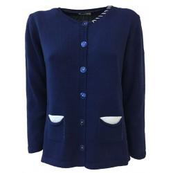CLAUDIA F. giacca donna con bottoni blu chiaro mod D681/6 MADE IN ITALY
