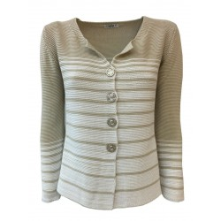 CLAUDIA F. giacca donna con bottoni Beige righe bianche mod D698/6 MADE IN ITALY
