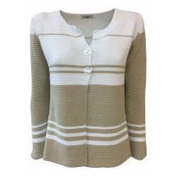 CLAUDIA F. giacca donna con bottoni Bianco/beige mod D682/6 MADE IN ITALY
