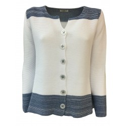 CLAUDIA F. woman jacket with white buttons with blue inserts mod D699 / 6 MADE IN ITALY