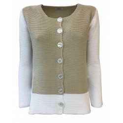 CLAUDIA F. giacca donna con bottoni beige/bianco mod D714/6 MADE IN ITALY