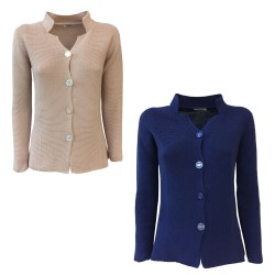 CLAUDIA F. woman jacket seamless with buttons mod D689 / 6 MADE IN ITALY