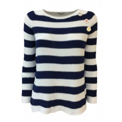 CLAUDIA F. Woman shirt long sleeve seamless stripes white / blue mod D693 MADE IN ITALY