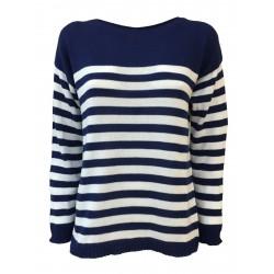 CLAUDIA F. maglia donna scollo a barca manica lunga blu/bianco mod. D702/6