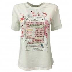 KORALLINE T-shirt donna rosa in cotone con stampa, paillettes e strass modello 387