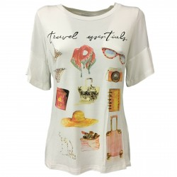 KORALLINE Ivory viscose woman T-shirt with prints and rhinestones model 392