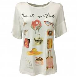 KORALLINE T-shirt donna viscosa avorio con stampe e strass modello 392