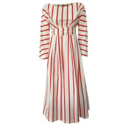 CUCU' LAB woman dress long sleeve white / red stripes mod ROBERTA MADE IN ITALY