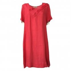 AR.12 abito donna corallo mezza manica girocollo mod 82452 MADE IN ITALY