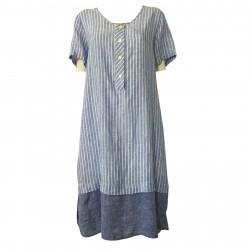 AR.12 abito donna mezza manica righe celeste/bianco balza azzurra mod 82334 MADE IN ITALY