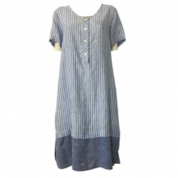 AR.12 woman half sleeve dress light blue / white stripes light blue flounce mod 82334 MADE IN ITALY