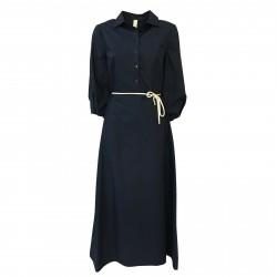 ETICI abito donna blu manica 3/4 a palloncino zip laterale mod A2/9560/LF MADE IN ITALY