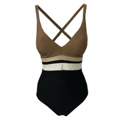 FEELING by JUSTMINE one piece swimsuit with lined cup C art A777C678 black / mud / gold