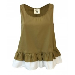 SEMICOUTURE Beige woman top with white flounces mod S0 / S / S0SK05 MADE IN ITALY