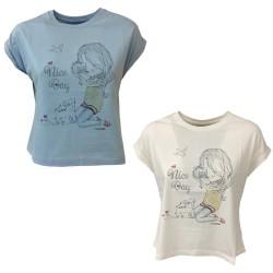 EMPATHIE T-shirt donna celeste manica scesa mod 0204 100% cotone MADE IN ITALY