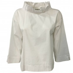 RUE BISQUIT White woman shirt standing collar mod FLORIDA RS7055 MADE IN ITALY