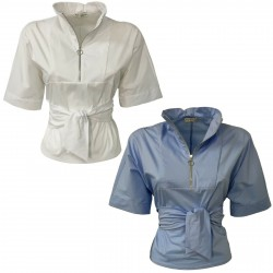 RUE BISQUIT Woman cotton shirt with bow at the waist mod RS7053 MADE IN ITALY