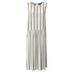 NEIRAMI long woman dress without sleeves white blue lines mod DS1118 CARRARA MADE IN ITALY