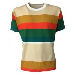 BottegaChilometriZero man t-shirt half sleeve crew-neck striped beige / green / orange mod DU20051 MADE IN ITALY