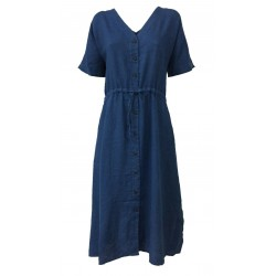 4.10 by BKØ indigo half sleeve woman dress buttoned MADE IN ITALY