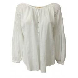 SEVENDAYWONDER blusa donna manica lunga bianca con bottoni SBW152-20 DANIELLA MADE IN ITALY