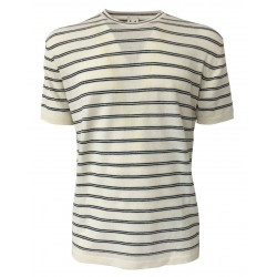 MOLO ELEVEN man shirt short sleeve ivory blue lines mod RODRIGUEZ