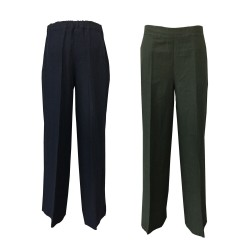LA FEE MARABOUTEE wide linen trousers FB7540 MADE IN ITALY 100% linen