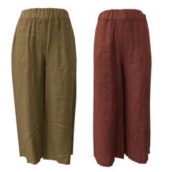 LA FEE MARABOUTEE women's wide linen trousers mod FC3350 MADE IN ITALY