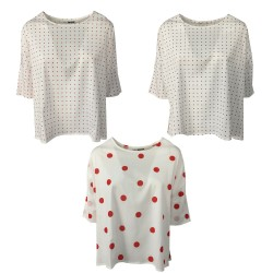 CUCU' LAB t-shirt donna mezza manica a scatola pois art 01 D MARIL MADE IN ITALY