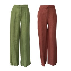 LA FEE MARABOUTEE woman linen trousers bottom 27 cm mod FC3359 MADE IN ITALY