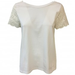 SEMICOUTURE T-shirt woman jersey + white sangallo SEMICOUTURE mod S0 / Y / YOSW01