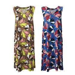 FEELING by JUSTMINE flared midi woman dress art E2699666 LEAVES length 115 cm