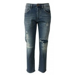 ATELIER CIGALA'S jeans woman ripped light denim mod 17-973D 13Y TDSB18 BOYFRIEND