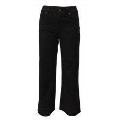 ATELIER CIGALA'S black woman jeans mod 17-167 1Y TBDS08 PALAZZO CROP MADE IN ITALY