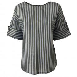 TELA camicia donna mezza manica righe militare/celeste mod PULCINO MADE IN ITALY