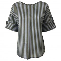 TELA shirt woman half sleeve military/light blue stripes mod PULCINO MADE IN ITALY