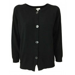 SEMICOUTURE woman black round neck cardigan mod Y0WC42 SANDRINE MADE IN ITALY