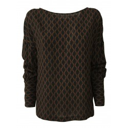 LIVIANA CONTI blouse woman long sleeve black / brick chain print F0WU48 MADE IN ITALY
