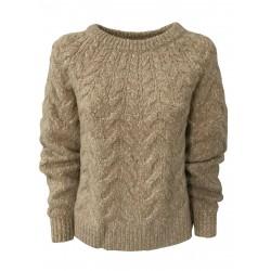 LIVIANA CONTI women's crewneck sweater with beige melange braids F0WE07 MADE IN ITALY