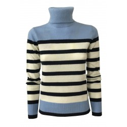 PENNYBLACK long sleeve turtleneck sweater white / blue / light blue stripes mod FATATO