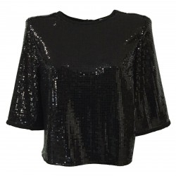 RUE BISQUIT black woman blouse with 3/4 black mirror applications zip back art RW7075 POLA MADE IN ITALY