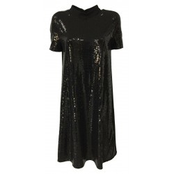 RUE BISQUIT black flared half sleeve woman dress with mirror fabric art RW0000 DRESS POLA MADE IN ITALY