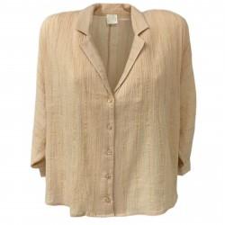 DES PETITS HAUTS Woman cotton over powder / gold lurex shirt mod SAMI