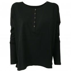 DES PETITS HAUTS Black woman t-shirt with buttons mod RISBI 100% cotton