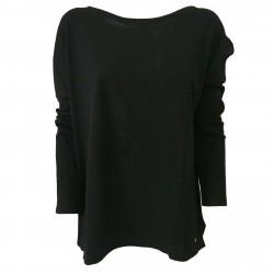 DES PETITS HAUTS Black woman t-shirt with back buttons mod TEMPETE 100% cotton