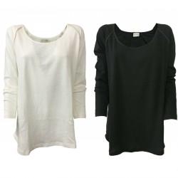 DES PETITS HAUTS Woman sweater with silk inserts mod TOMAS 85% cotton 15% linen